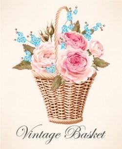 Vintage basket vector material 03