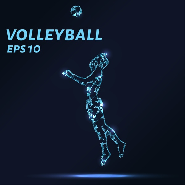 Volleyball with points lines 3D vector