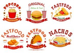 fast food labels design vector set 11