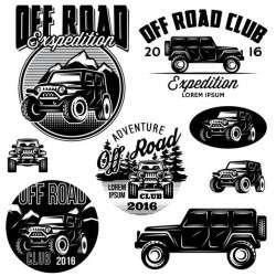 Off road club logos creative vector