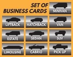 Set of business car vector material