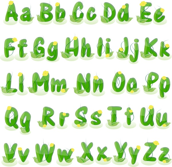 Green plant alphabet with flower vector