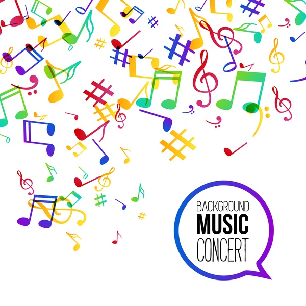 Musicbackground and colored musical notes vector 04