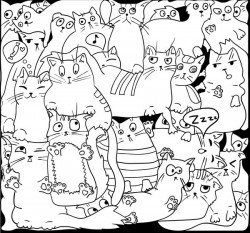Funny cat hand darwn seamless pattern vector 07