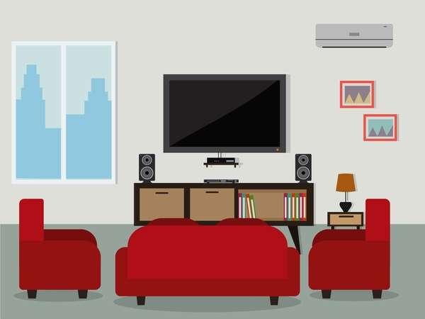 living room flat background vector