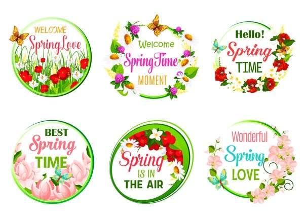 Spring flower round card vector