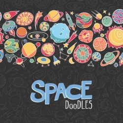 Cartoon space doodles vector background 05
