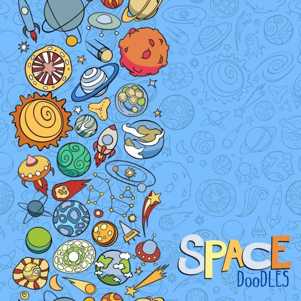 Cartoon space doodles vector background 07