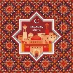 Ramadan pattern with greeting card vector 01