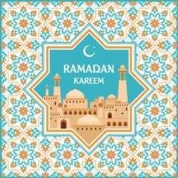 Ramadan pattern with greeting card vector 06