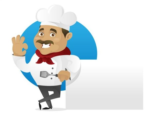 Funny chef cooking sign vector design 05