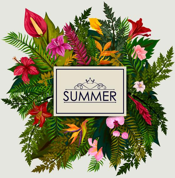 Summer background with tropical plant and flower vector 13