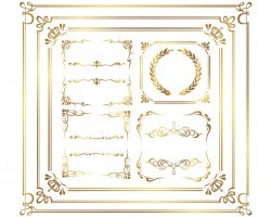 Golden decor calligraphy with frame and borders vector 07