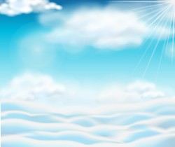 Sunlight and clouds with sky background vector 01