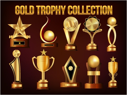 Gold trophy collection vector material 01