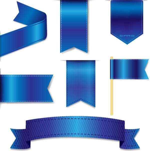 Blue ribbon tag sticker vector