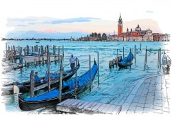 Venice Italy landscape hand drawing vector 02