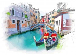Venice Italy landscape hand drawing vector 03