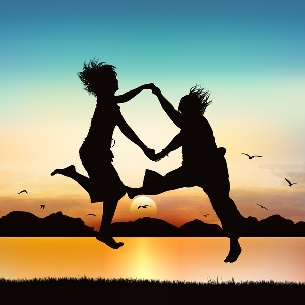 Happy girls are jumping, on silhouette art