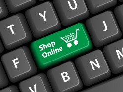 Online shopping with keyboard background vectors 03