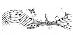 Black sound spectrum with butterflies vector 01