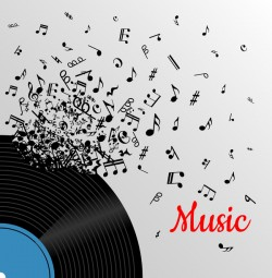 vinyl record with music note background vector