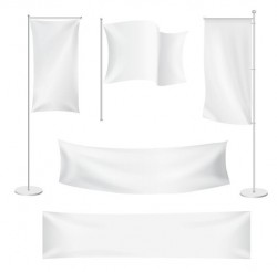 White flag design vector set 01