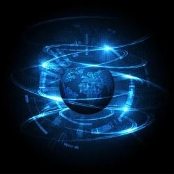 World tech blue background vector