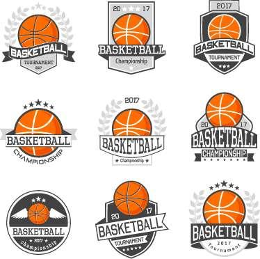 9 Kind basketball labels retro vector