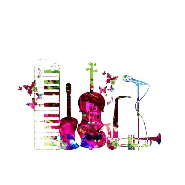 Colorful musical instruments with butterflies vector 02