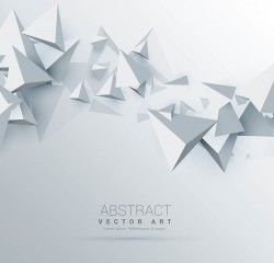 White background with 3D triangle vector 01