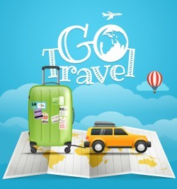 world vacation travel vector material