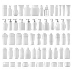 Cosmetic bottles backage set vector 05