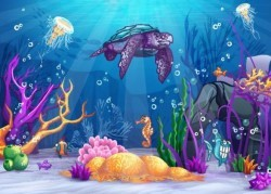 Beautiful underwater world vector material 07