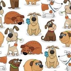 Funny dog cartoon seamless pattern vector 01