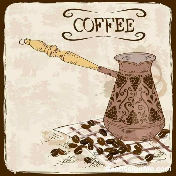 coffee poster retro hand drawn vector 03