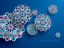 Ramadan background with paper cut flower vector 13