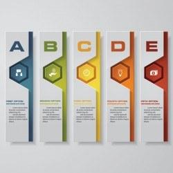 Vertical banner infgraphic paper vector 01