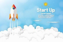 Start up timeline cartoon background vector