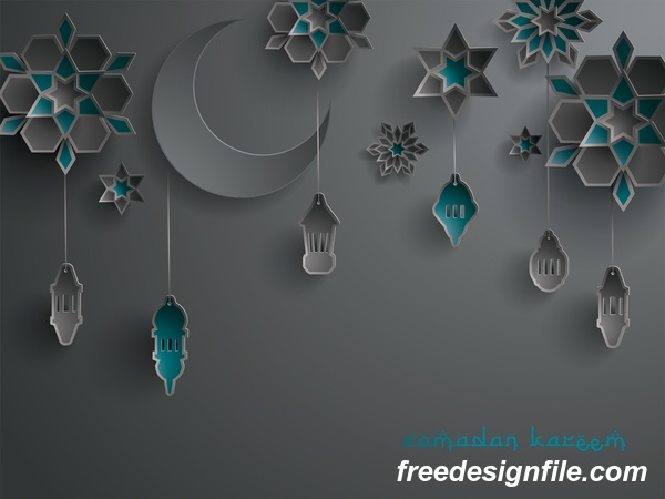Black ramadan background with decor glantern vector 01