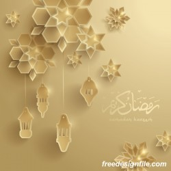 Beige ramadan background with decor glantern vector 02