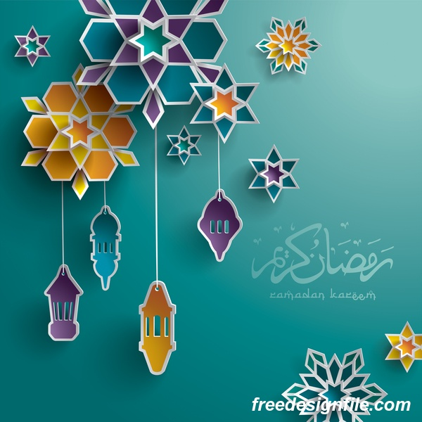 Ramadan background with colored decor vector