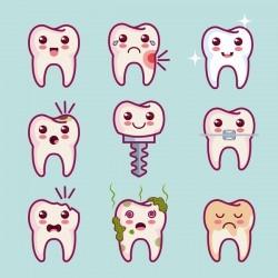Funny cartoon tooths vector