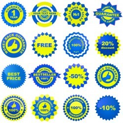 Blue with yellow badge creative vector