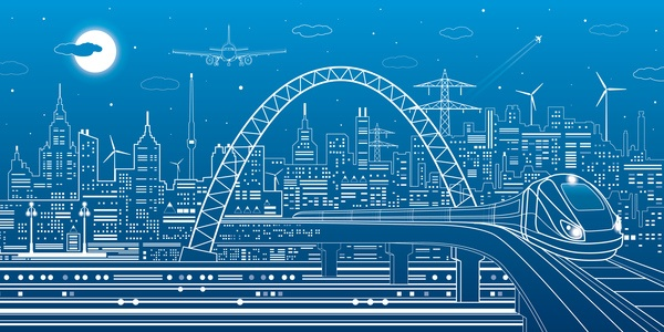 Hand drawn lines city landscape vector material 19