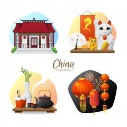 China sights elements illustration vector