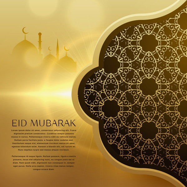 Golden eid mubarak background with floral decor vector