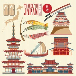 Japanese travel sights with traditions cultural vector 04