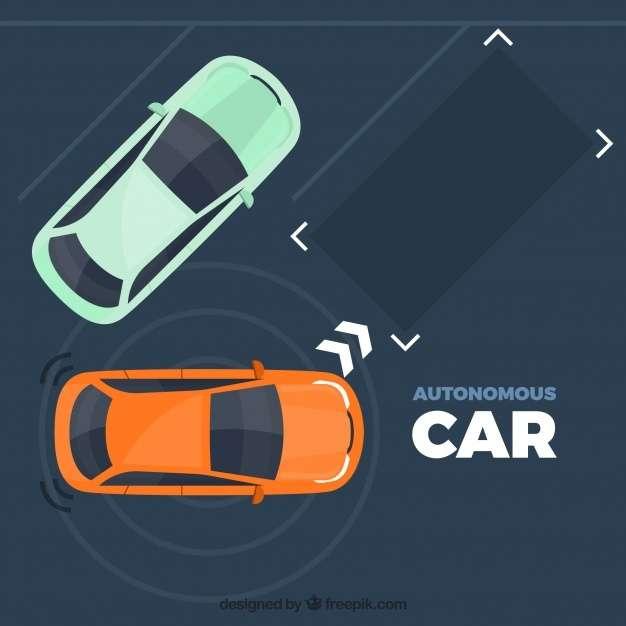 Autonomous car concept with flat design