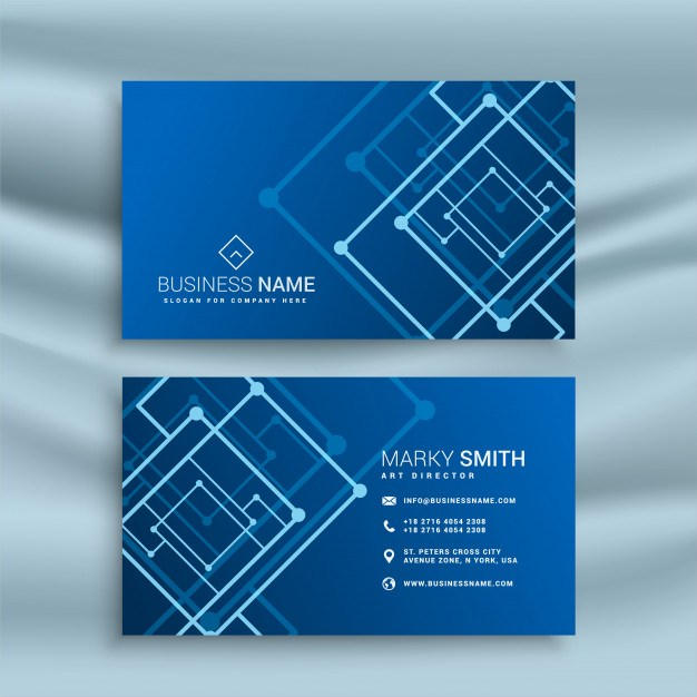 Blue abstract shape business card design